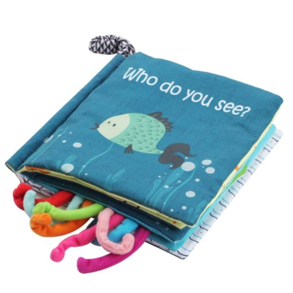 Baby Customize Soft Crinkle Cloth Book With Animal Tails For Kids Infants