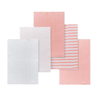 Custom Natural Designer Baby Burp Cloths 100% Organic Cotton 5 Pack