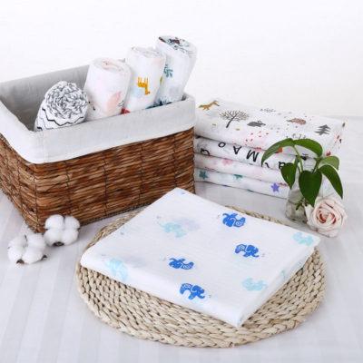 Gots Certified Custom Printed Organic Muslin Bamboo Baby Swaddle Blanket