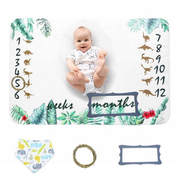 Hot Selling Popular Super Soft Customized Design Flannel Fleece Baby Monthly Milestone Blanket Wholesale
